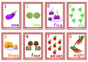 Counting Numbers Flashcards - Fruits and Vegetables