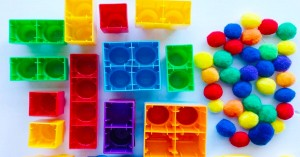 Blocks and Pompom Colour Sorting