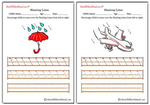 Slanting Lines Worksheets - Left to Right