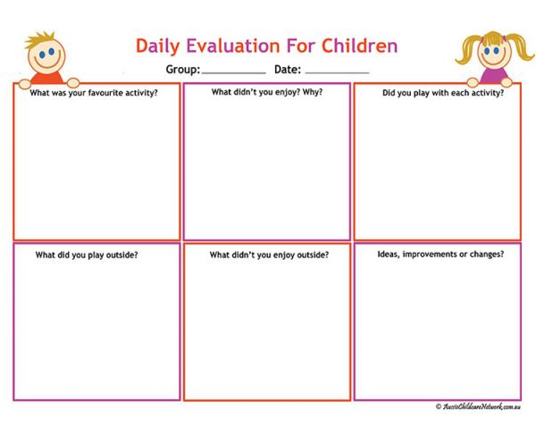 Daily Evaluation For Children