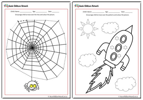 tracing pictures worksheets