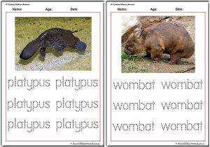 Tracing Words - Australian Animals