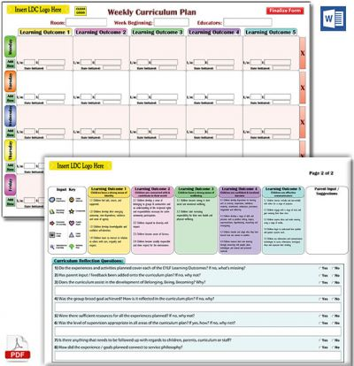Weekly Curriculum Plan Templates Now Available in MS Word format