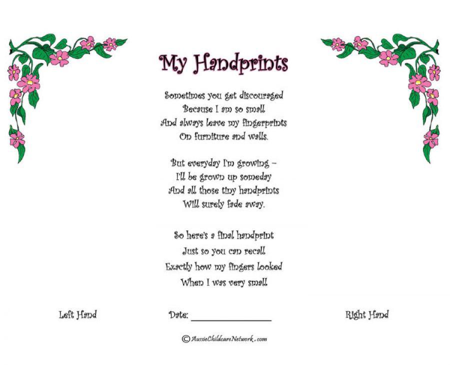 photo regarding Sometimes You Get Discouraged Handprint Poem Printable identified as My Handprints - Aussie Childcare Community