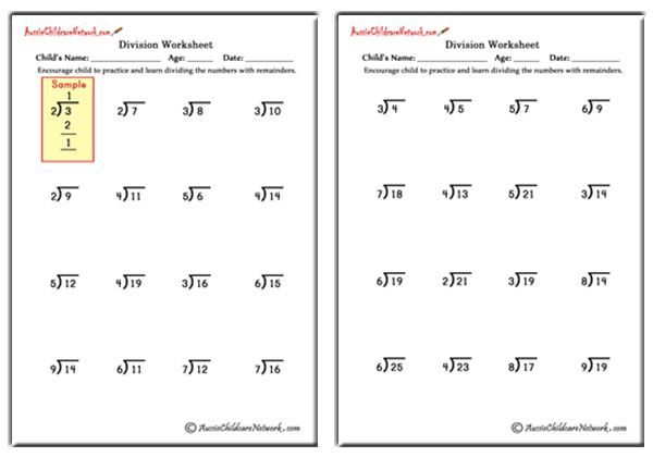 Easy division worksheets with remainders