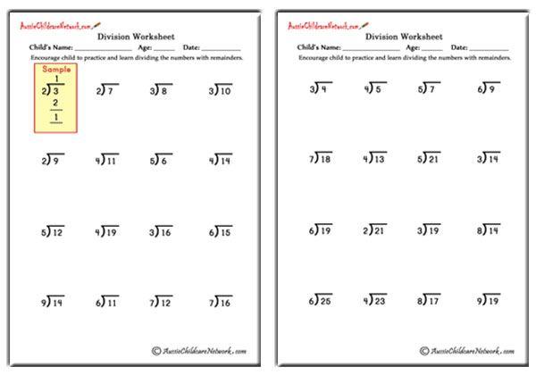 Easy division worksheets