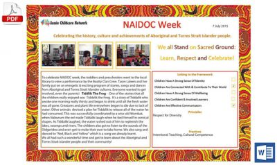 NAIDOC Week Learning Story Template