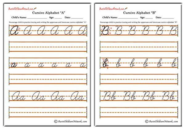 Cursive Alphabet - Aussie Childcare Network
