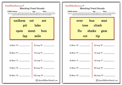 long and short vowel sounds worksheets - Google Search | English ...