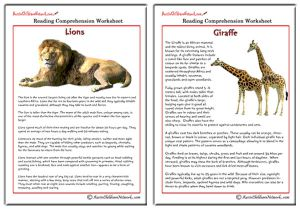 Comprehension Sheets on Animals