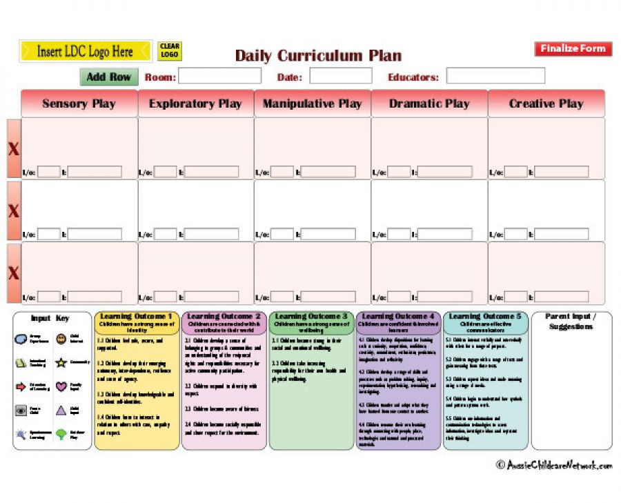 Play Based Daily Program Aussie Childcare Network - Play program template
