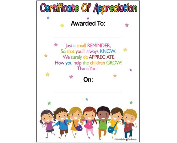 Educator's Certificate Of Appreciation
