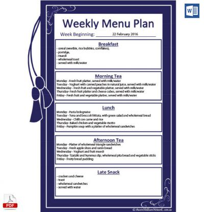 Free Weekly Menu Plan Template Aussie Childcare Network – Menu for the Week Template