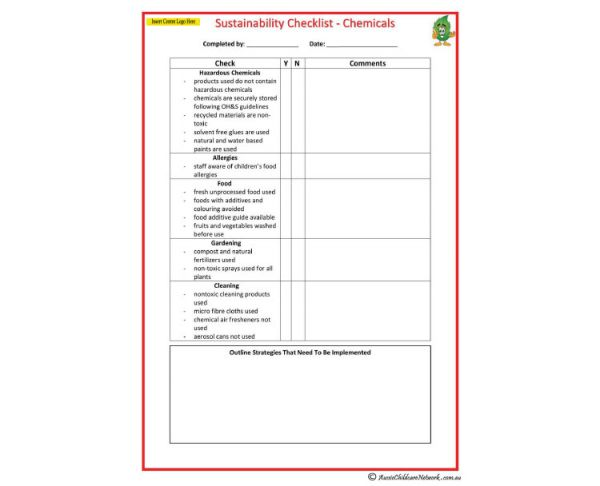 Sustainability checklist chemicals aussie childcare for Hazardous substance register template