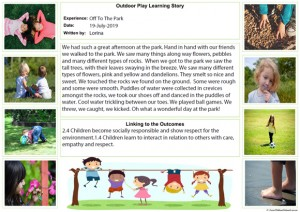 Outdoor Play Learning Story Template