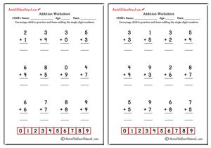 Single Digit Simple Addition Worksheets