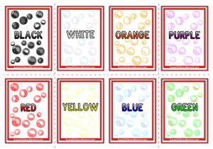 Colour Words Flashcards - Bubbles