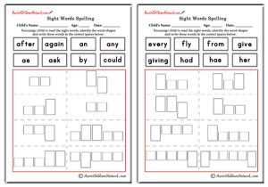 First Grade Sight Words Shapes and Spellings