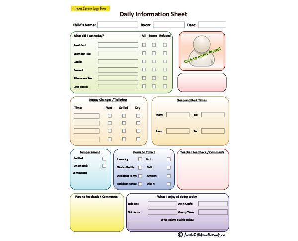 Child Daily Information Sheet Aussie Childcare Network – Information Sheets Templates