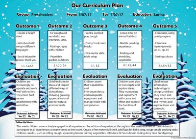Winter Curriculum Plan Template