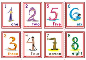 Number Flashcards - Cartoon Numbers
