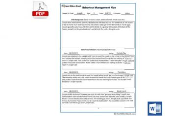 child behaviour management plan template