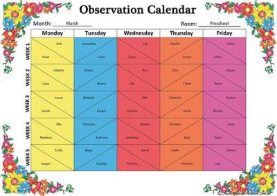 Monthly Observation Calendar