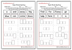 Pre Primer Sight Words Shapes and Spellings