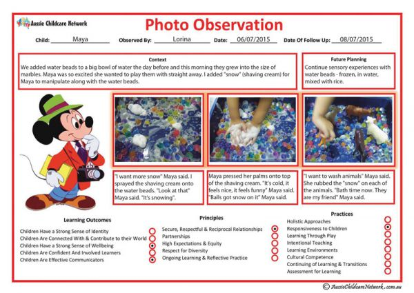 New Photo Observation Template Aussie Childcare Network