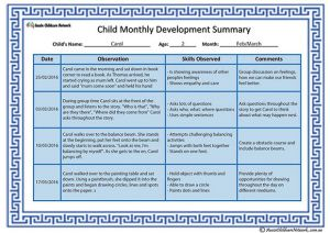 Child Monthly Development Summary Template