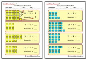 Visual Division Worksheets (With Remainders)