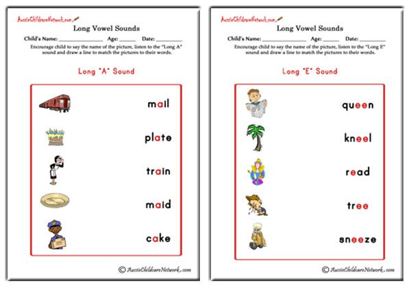 Long Vowel Sounds Matching Pictures - Aussie Childcare Network