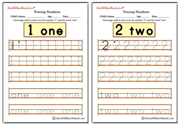 Tracing Numbers Worksheets - Aussie Childcare Network