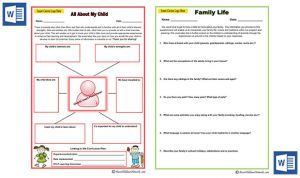 MS Word Version of Family Life & All about My Child Templates