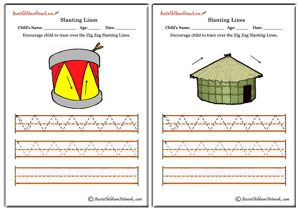 Slanting Lines Worksheets - Up and Down