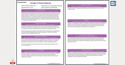Transition Statement For School