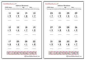 Double Digit Addition Worksheets (with Carrying)