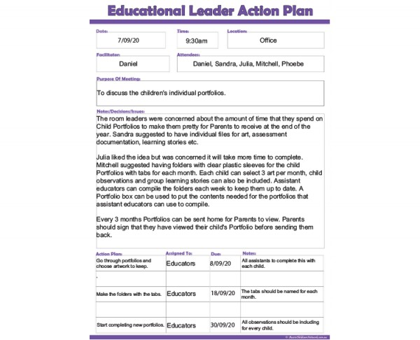 Educational Leader Action Plan