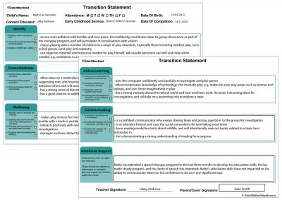 Transition Statement QLD Report Template