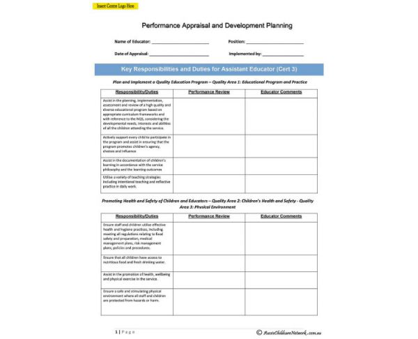 Staff Appraisal For Assistant Educator Aussie Childcare Network – Appraisal Template Word