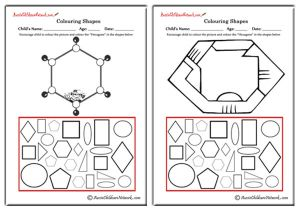 Colouring shapes worksheets aussie childcare network colouring shapes hexagons ccuart Images