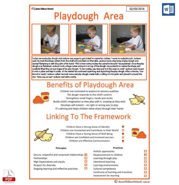 playdough play interest area template