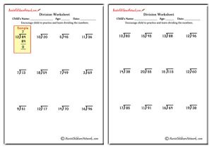 Mixed Division Worksheets (with and without Remainders)