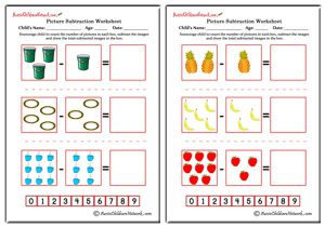 Picture Subtraction Worksheets