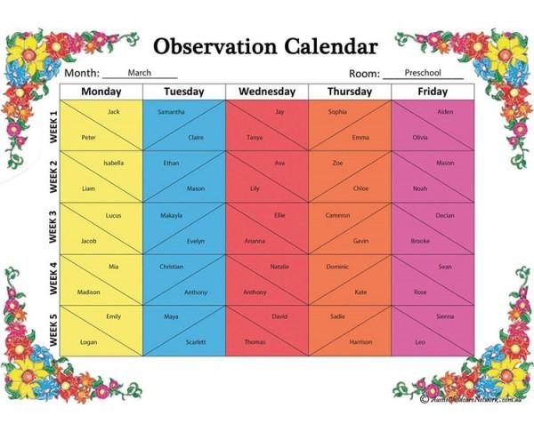observation calendar