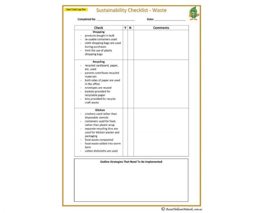 Sustainability Checklist Waste Aussie Childcare Network
