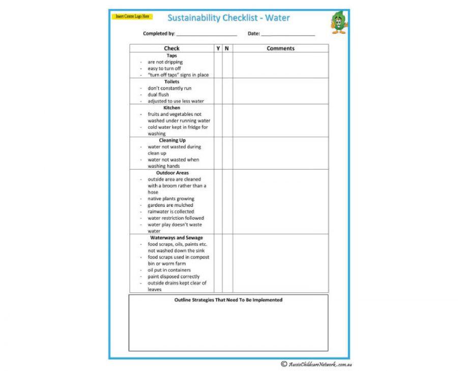 Sustainability Checklist Water Aussie Childcare Network