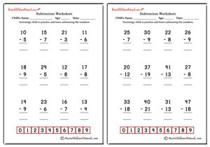 Double Digit Subtraction Worksheets (With Borrowing)