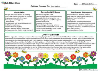 Outdoor Curriculum Planning template