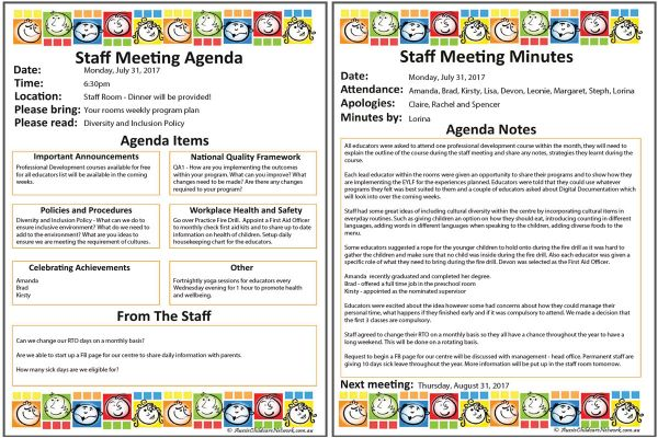 staff meeting templates